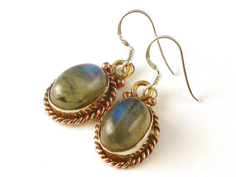 Design 112568 Fair Trade Oval Labradorite .925 Sterling Silver Jewelry Earrings 1 1/2""