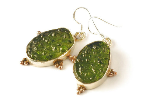 Design 112662 Handcrafted Oval Moldavite .925 Sterling Silver Jewelry Earrings 2""