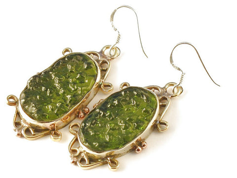 Design 112672 Premier Designs Oval Moldavite .925 Sterling Silver Jewelry Earrings 2""