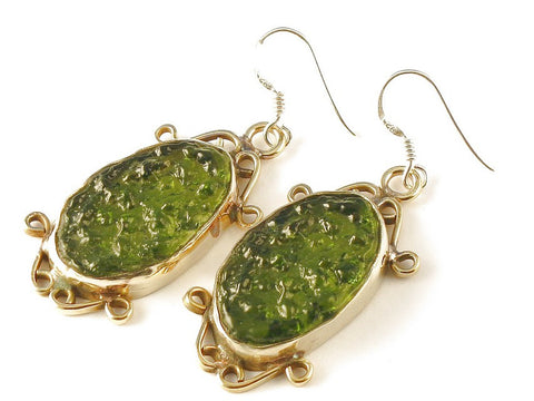 Design 112683 Handcrafted Oval Moldavite .925 Sterling Silver Jewelry Earrings 2""