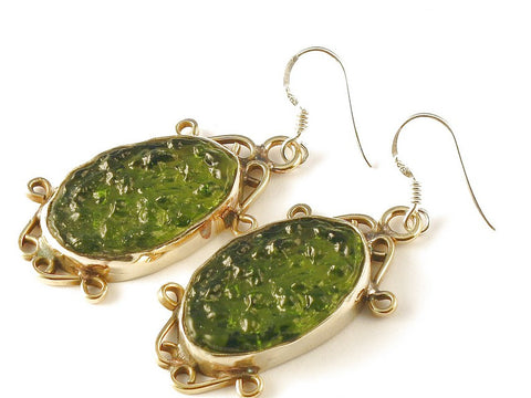 Design 112689 Handmade Oval Moldavite .925 Sterling Silver Jewelry Earrings 2""