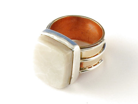 Design 112745 Wholesale Square Mother Of Pearl .925 Sterling Silver Jewelry Ring Size 5
