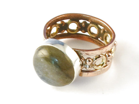 Design 112756 Premier Designs Round Labradorite .925 Sterling Silver Jewelry Ring Size 8