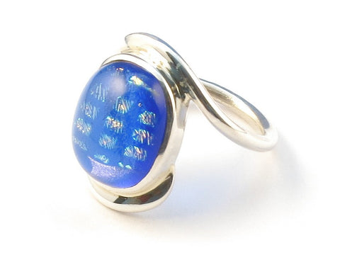 Design 112948 Original Oval Dichroic Glass .925 Sterling Silver Jewelry Ring Size 7