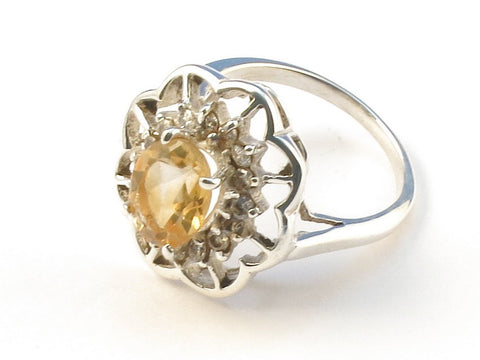 Design 112960 Jewelry Store Oval Citrine Cubic Zirconia .925 Sterling Silver Jewelry Ring Size 7
