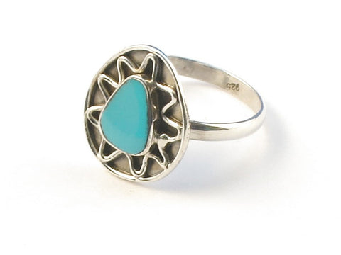 Design 112967 Artisan Jewelry Pear Blue Turquoise .925 Sterling Silver Jewelry Ring Size 6