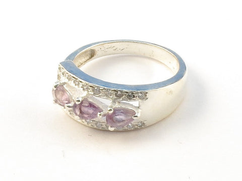 Design 112982 Jewelry Closeout Pear Amethyst .925 Sterling Silver Jewelry Ring Size 7