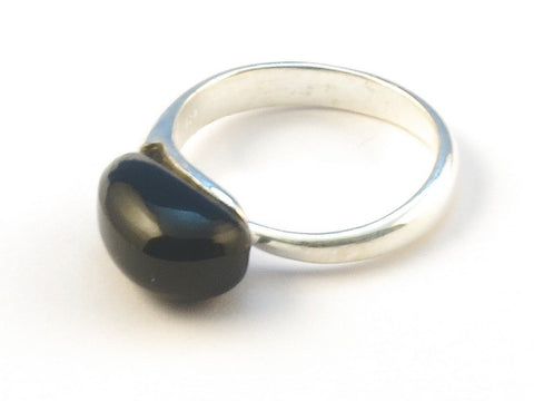 Design 112994 Made By Hand Oval Black Onyx .925 Sterling Silver Jewelry Ring Size 9