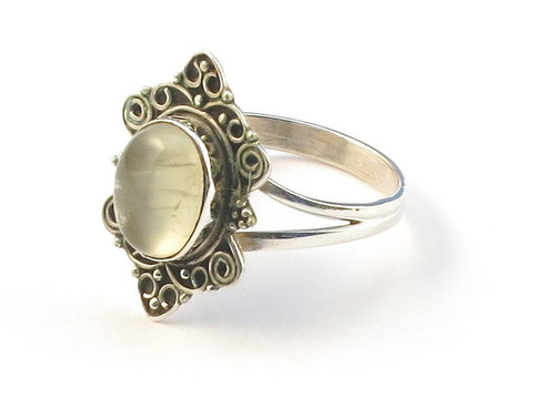 Design 113001 Special Oval Prehnite .925 Sterling Silver Jewelry Ring Size 7