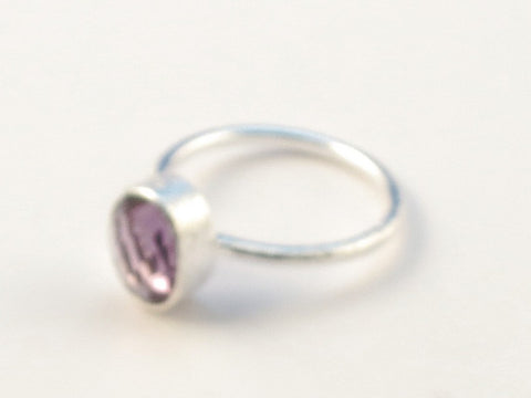 Design 113010 Jewelry Shop Oval Amethyst .925 Sterling Silver Jewelry Ring Size 6