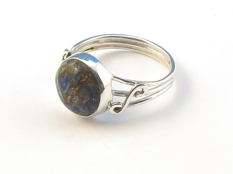 Design 113011 Original Round Lapis Copper Turquoise .925 Sterling Silver Jewelry Ring Size 6