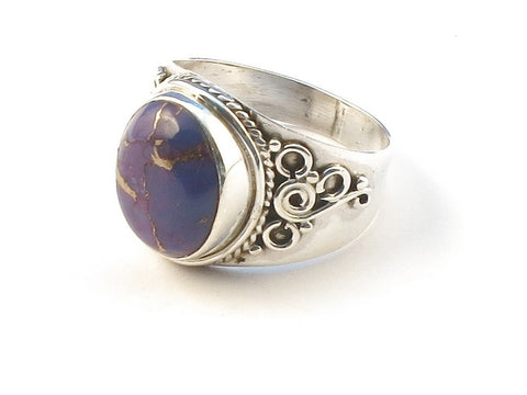 Design 113015 Made By Hand Oval Purple Copper Turquoise .925 Sterling Silver Jewelry Ring Size 6