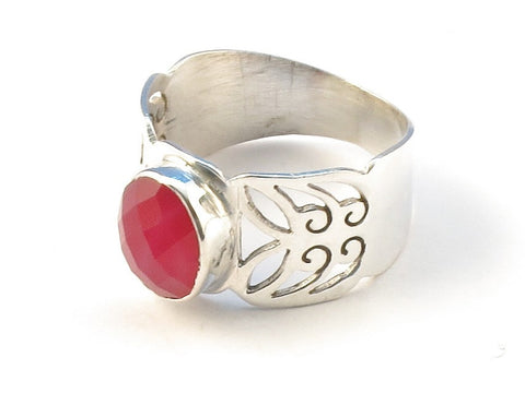 Design 113018 Premier Designs Oval Pink Banded Agate .925 Sterling Silver Jewelry Ring Size 9