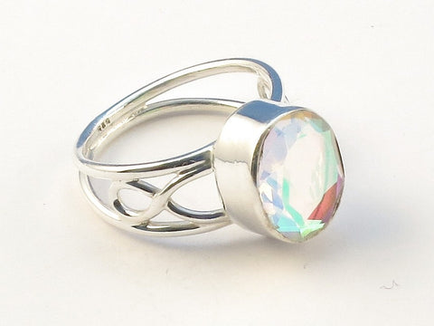 Design 113020 Premium Oval Rainbow Mysterious .925 Sterling Silver Jewelry Ring Size 7