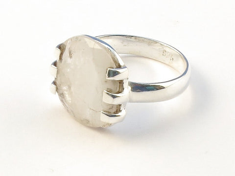 Design 113026 Glistening Oval Rainbow Moonstone .925 Sterling Silver Jewelry Ring Size 8