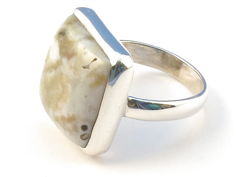 Design 113030 Artisan Jewelry Square Ocean Jasper .925 Sterling Silver Jewelry Ring Size 8