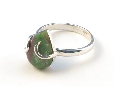 Design 113042 Exotic Pear Ruby Zoisite .925 Sterling Silver Jewelry Ring Size 8