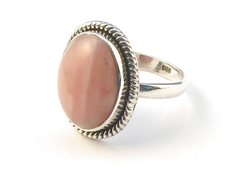 Design 113046 Lovely Oval Pink Opal .925 Sterling Silver Jewelry Ring Size 6