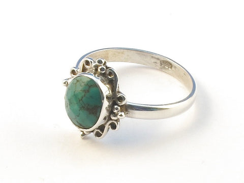 Design 113053 Original Oval Turquoise .925 Sterling Silver Jewelry Ring Size 8