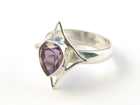 Design 113057 Made By Hand Pear Purple Amethyst .925 Sterling Silver Jewelry Ring Size 7