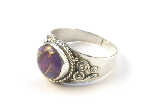 Design 113063 Exotic Round Purple Copper Turquoise .925 Sterling Silver Jewelry Ring Size 8