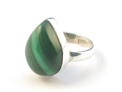 Design 113065 Jewelry Store Pear Malachite .925 Sterling Silver Jewelry Ring Size 6