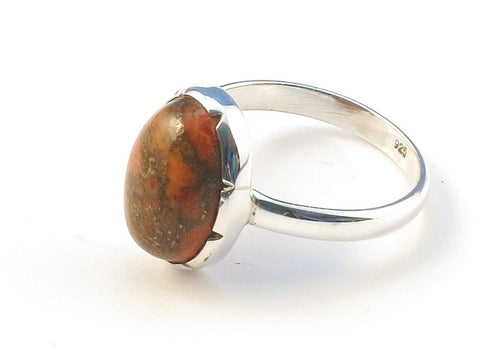 Design 113074 Original Oval Orange Copper Turquoise .925 Sterling Silver Jewelry Ring Size 9