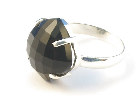 Design 113084 Exotic Square Black Onyx .925 Sterling Silver Jewelry Ring Size 9