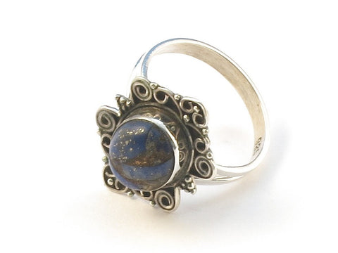 Design 113085 Special Oval Lapis Copper Turquoise .925 Sterling Silver Jewelry Ring Size 6