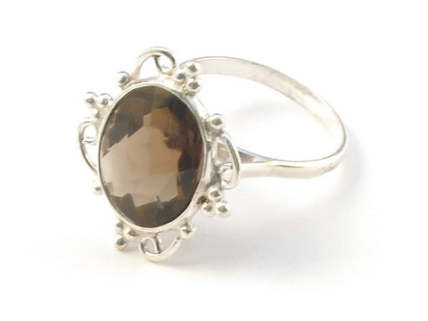 Design 113087 Jewelry Closeout Oval Smoky Topaz .925 Sterling Silver Jewelry Ring Size 6