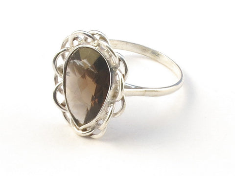 Design 113092 Handcrafted Pear Smoky Topaz .925 Sterling Silver Jewelry Ring Size 7
