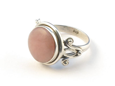 Design 113093 Artisan Jewelry Round Pink Opal .925 Sterling Silver Jewelry Ring Size 6