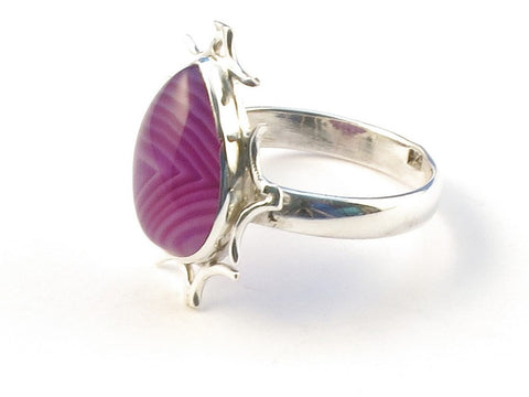 Design 113099 Made By Hand Pear Purple Banded Agate .925 Sterling Silver Jewelry Ring Size 8
