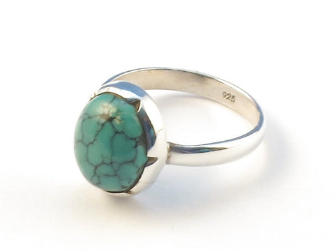 Design 113102 Premier Designs Oval Turquoise .925 Sterling Silver Jewelry Ring Size 8
