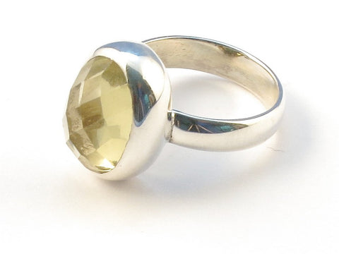 Design 113113 Handcrafted Oval Lemon Quartz .925 Sterling Silver Jewelry Ring Size 7