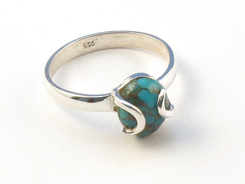 Design 113124 Fair Trade Oval Blue Copper Turquoise .925 Sterling Silver Jewelry Ring Size 9