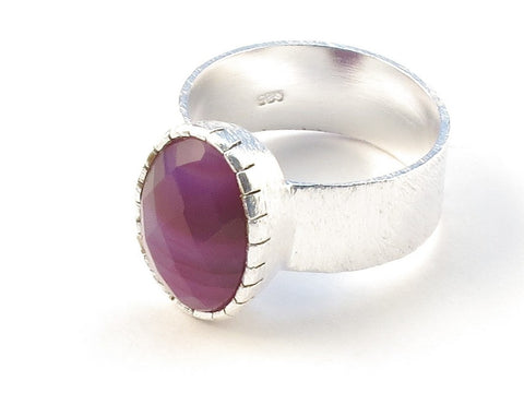 Design 113127 Special Oval Purple Banded Agate .925 Sterling Silver Jewelry Ring Size 8
