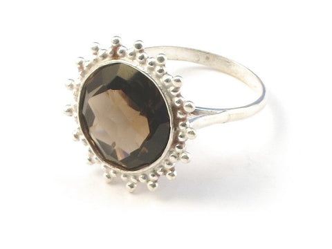 Design 113136 Jewelry Shop Round Smoky Topaz .925 Sterling Silver Jewelry Ring Size 6