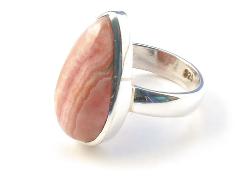Design 113137 Original Pear Rhodochrosite .925 Sterling Silver Jewelry Ring Size 7