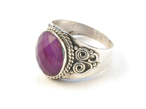 Design 113141 Made By Hand Oval Purple Banded Agate .925 Sterling Silver Jewelry Ring Size 6