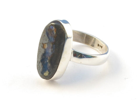 Design 113147 Exotic Oval Boulder Opal .925 Sterling Silver Jewelry Ring Size 8