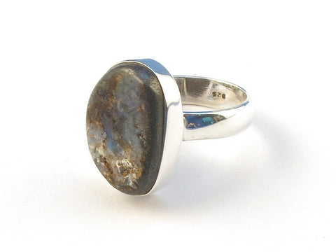 Design 113152 Glistening Unique Boulder Opal .925 Sterling Silver Jewelry Ring Size 8