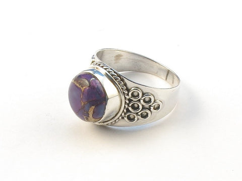 Design 113156 Artisan Jewelry Round Purple Copper Turquoise .925 Sterling Silver Jewelry Ring Size 7
