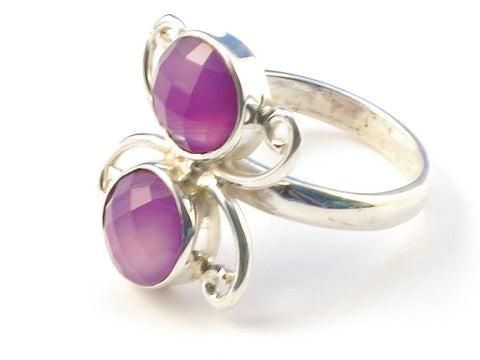 Design 113166 Fair Trade Round Purple Banded Agate .925 Sterling Silver Jewelry Ring Size 8
