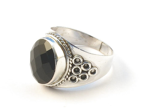 Design 113168 Exotic Oval Black Onyx .925 Sterling Silver Jewelry Ring Size 7