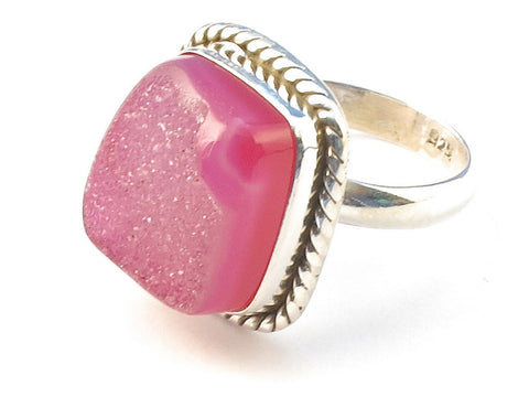 Design 113174 Shimmering Rectangle Pink Druzy .925 Sterling Silver Jewelry Ring Size 7