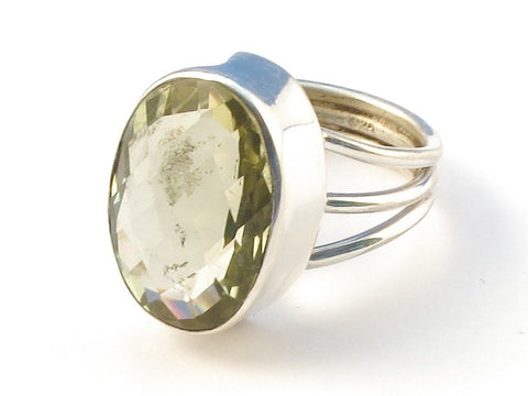 Design 113179 Original Oval Lemon Quartz .925 Sterling Silver Jewelry Ring Size 7