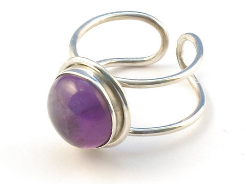 Design 113180 Unique Round Purple Amethyst .925 Sterling Silver Jewelry Ring Size 8