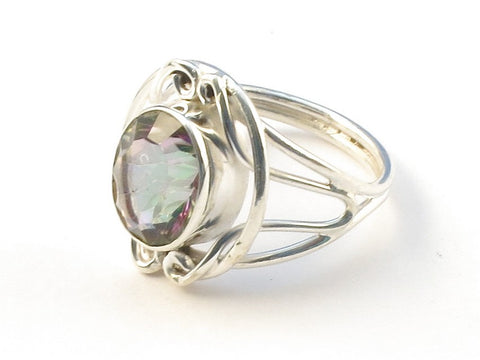 Design 113181 One-Of-A-Kind Oval Mysterious Topaz .925 Sterling Silver Jewelry Ring Size 7