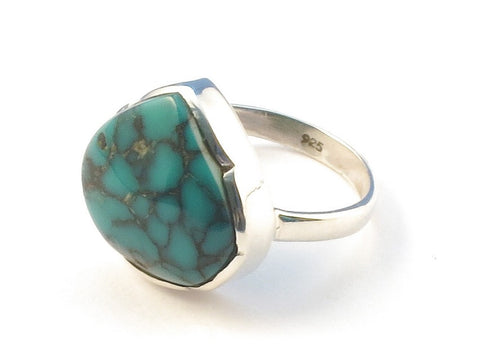 Design 113197 Handcrafted Pear Turquoise .925 Sterling Silver Jewelry Ring Size 6